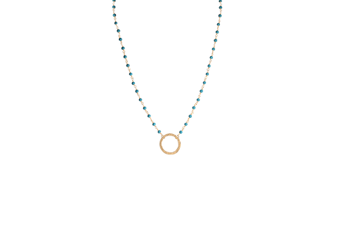 AVA- Turquoise/Gold Circle Necklace