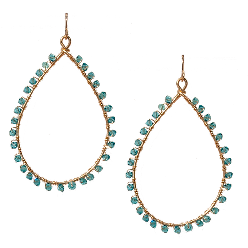 KNOX - Swarovski Indicolite/Gold Filled Earrings