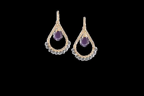 PAISLEY- Amethyst/Gold-Filled Earrings