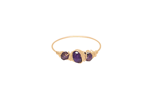 EVA - Amethyst/Gold Filled Ring