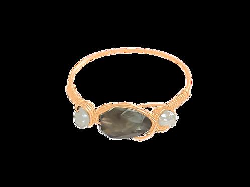 EVA - Labradorite & Pearl/Gold Filled Ring