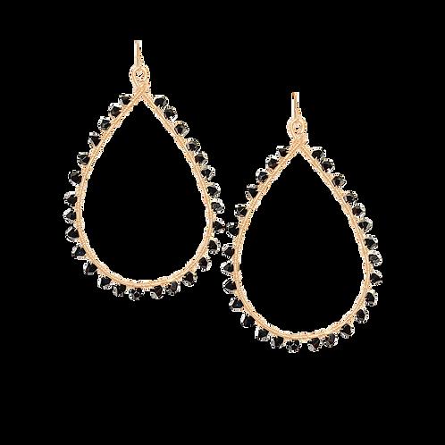KNOX - Swarovski Jet/Gold Filled Earrings