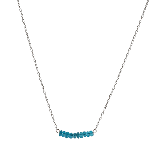 LYNZIE- Apatite/Oxidized Silver Necklace