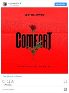 The music star took to his Instagram page on Tuesday, October 8, 2019. The song is produced by Vstik and Mr Eff.