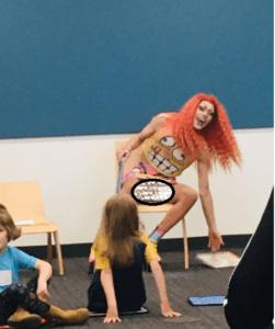 Drag Queen in skirt exposes