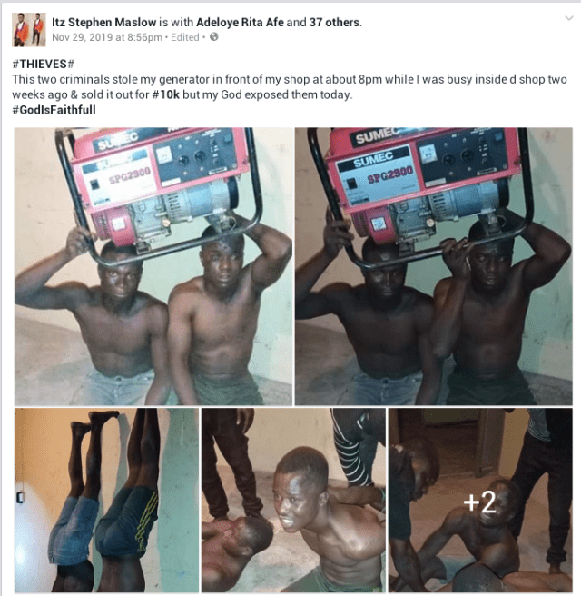 Two young men were caught