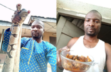 Nigerian man cooks and eats huge