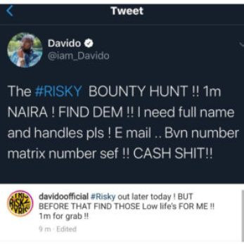 Davido offers N1m to anybody who can find the ladies in viral video claiming one of them is pregnant for him
