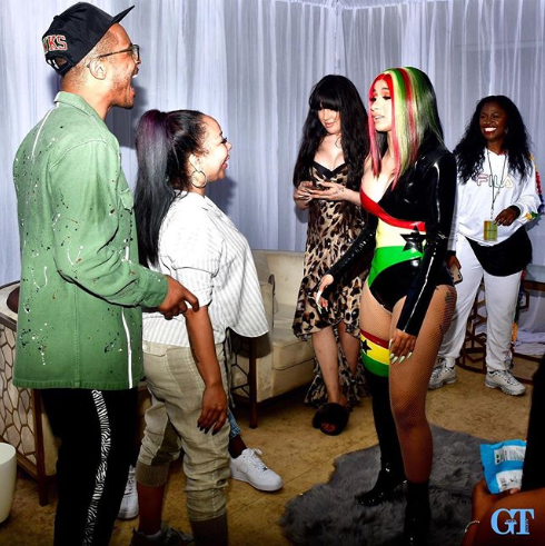 T.I and wife Tiny pictured in Ghana with Cardi B