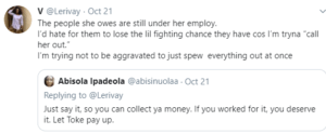 Well, it appears Toke is not taking the allegation lying low. This morning, she came on Twitter to announce a N500, 000 reward to anyone who can reveal the owner of the account. She has also revealed she will be seeking legal redress. See her tweets below