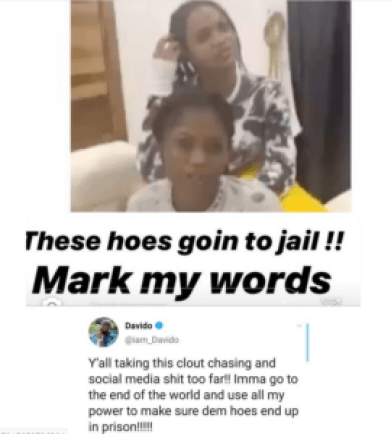 Mark my words, these hoes are going to jail- Davido1
