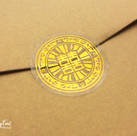 Gold foil chinese double happiness wedding round stickers
