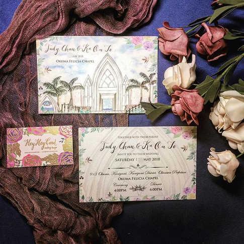 恭喜Judy & Ka ❤️ 今次為Judy手繪結婚場地教堂,玫瑰花和手寫#Ca
