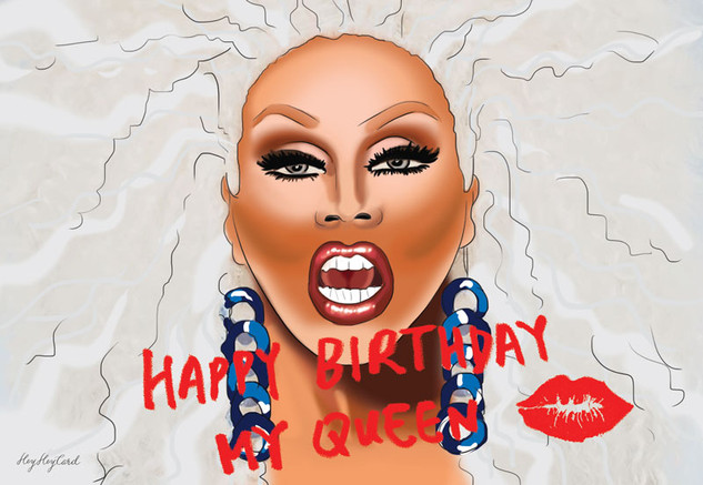 Drag queen birthday postcard
