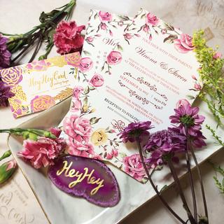 Pink flowers invitation set