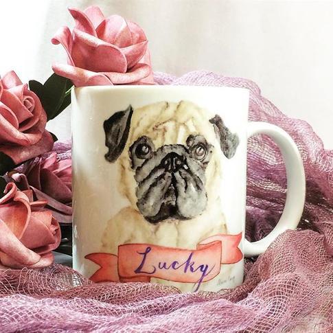 watercolor pug mug