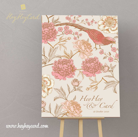 Pink and rose gold colour wedding welcome board