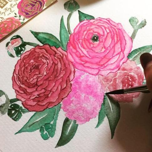 Custom watercolor flowers