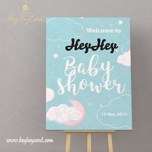 Blue style baby welcome board