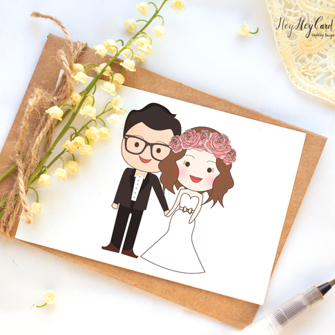 Cute digital couple illustration painting
