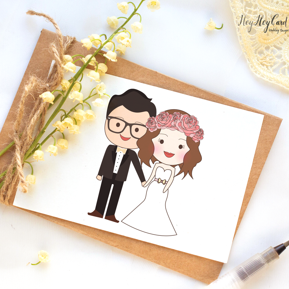 Cute digital couple illustration painting