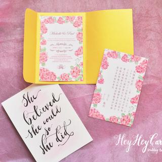 Pretty pink flowers invitation set