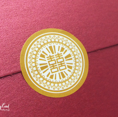 Gold color chinese double happiness wedding round stickers