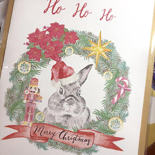 Water colour bunny Xmas Card