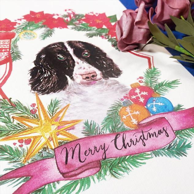 Watercolour dog Xmas Card