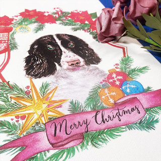 Watercolour dog Xmas Card