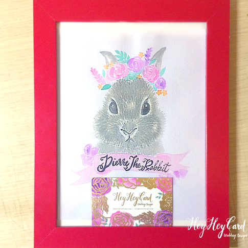 Custom watercolor bunny painting
