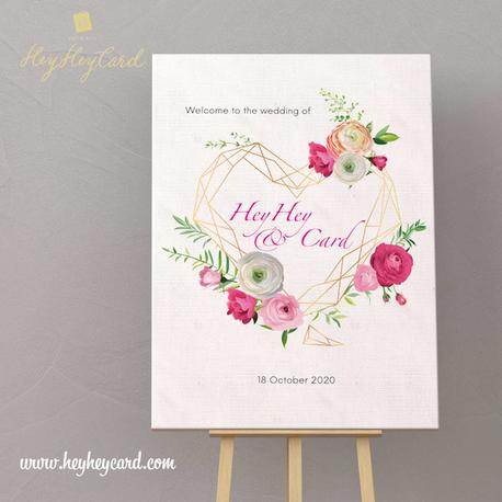 Digital flowers wedding welcome board