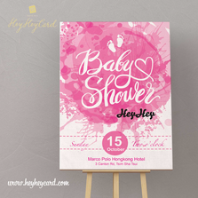 Pink colour with baby foot step welcome board
