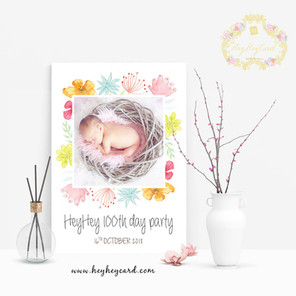 Hand-painted watercolor flowers welcome board