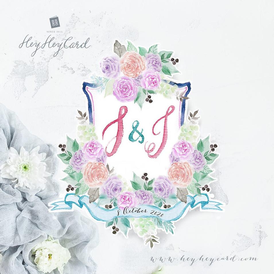 Hand painted wedding crest