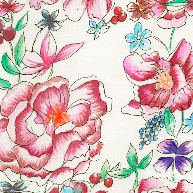 custom flower illustration with watercolor painted