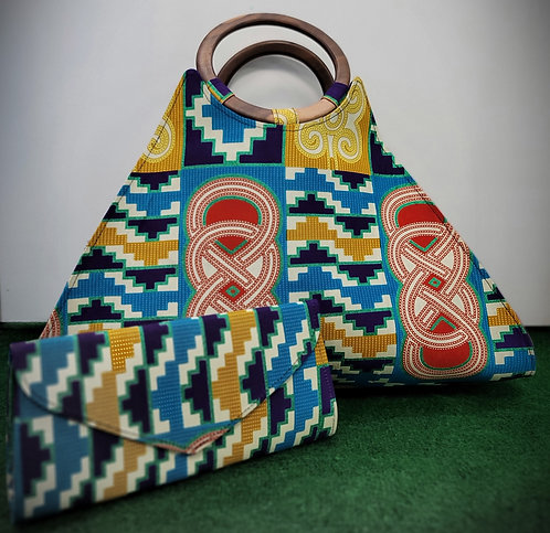 Kente  African Purse with wooden-handle and Wallet