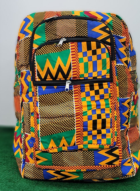 African Kente Print Backpack, Book Bag and Rucksack