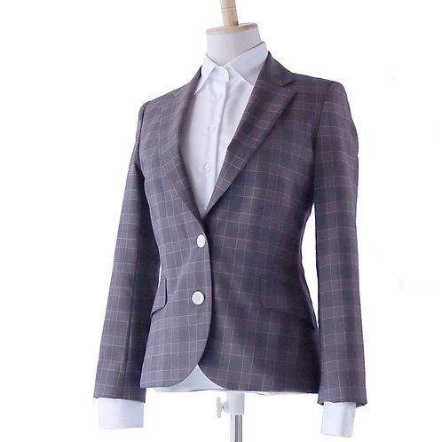 Ladies' スーツジャケット グレーチェック ~トキメキを感じるジャケット~