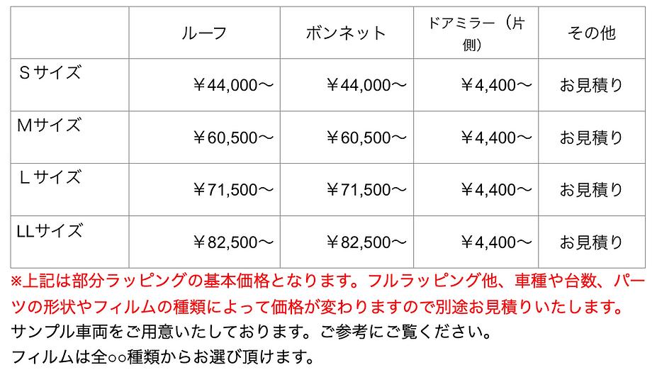 カーラッピング価格表