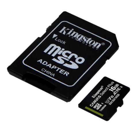 Memoria Micro SD 16GB Class 10 Kingston Canvas SDS2/16GB con Adapt