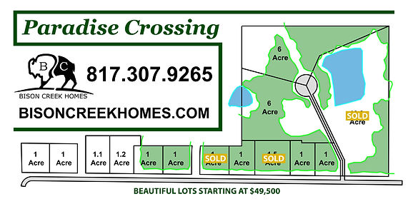 Paradise Crossing, land available, custom home build, wise county