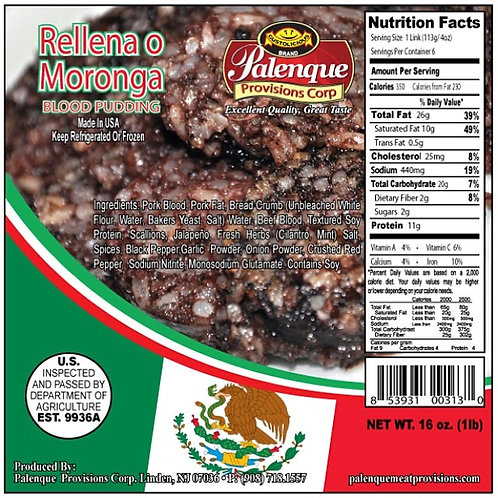 Rellena o Moronga / Mexican Black Pudding