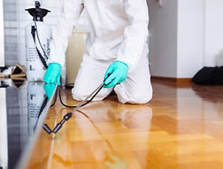 Person completing a pest control treatment.