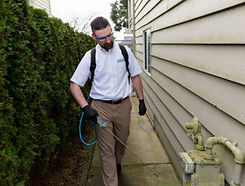 Pest control expert treating a house exterior.