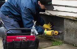 pest control expert repairing home damage.