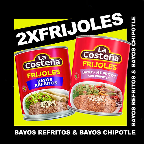 DUO Frijoles Refritos Natural & Chipotle med 10 Tortillas!