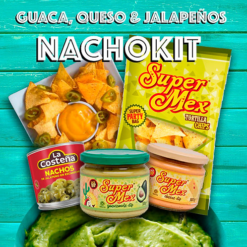 Guaca & Queso Nachos Kit for 2 -Chips, Queso&Guac Dips & Jalapeños!