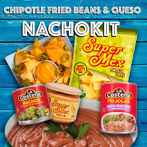 Chipotle Fried Beans with Nachos Kit for 2- Queso, Jalapeños, Beans&Chips