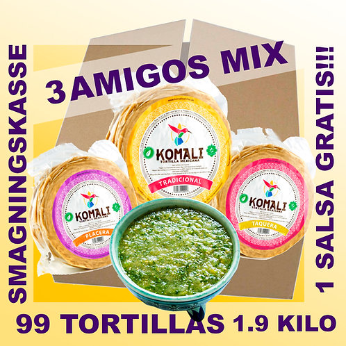 TRES AMIGOS MIX - 99 tortillas mix og 1 salsa gratis!